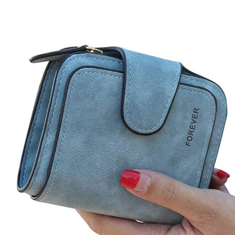 Women RFID Blocking Leather Small Bifold Wallet Card Holder Zipper Coin Pocket (Blue)