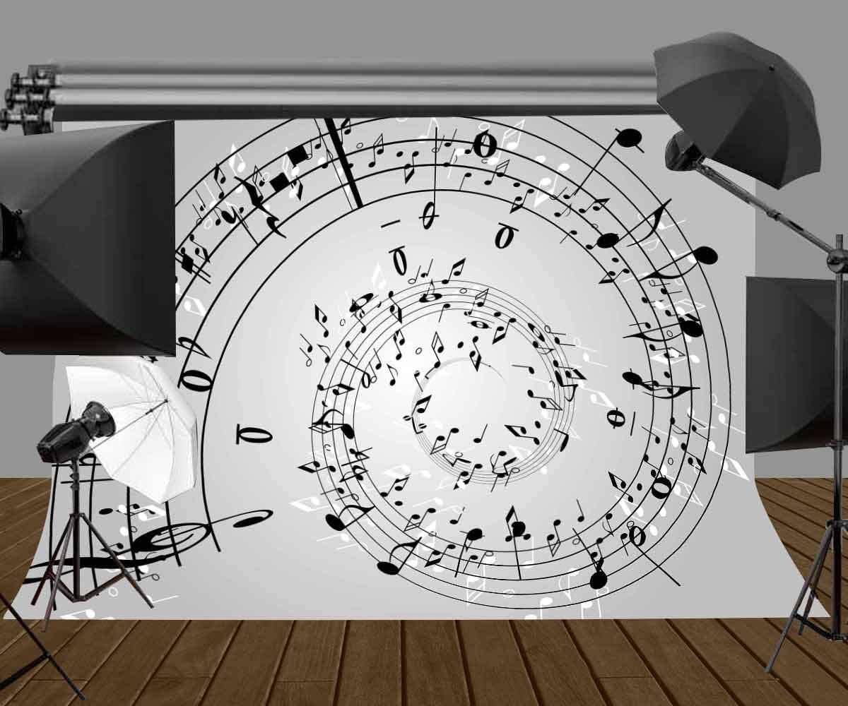 10x6.5ft Vinyl Music Note Wall Backdrop Music Melody Customized Photo Background LYGE548 for Party Decoration Birthday YouTube Videos School Photoshoot Photo Background Props