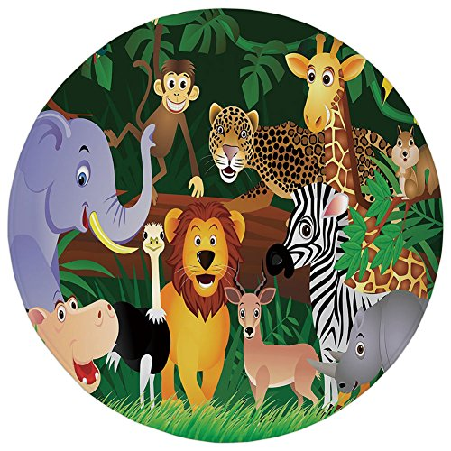 Round Rug Mat Carpet,Zoo,Animals in the Jungle Funny Expressions Exotic Comic Cheer Natural Habitat Illustration,Multicolor,Flannel Microfiber Non-slip Soft Absorbent,for Kitchen Floor (Cheer Flannel)