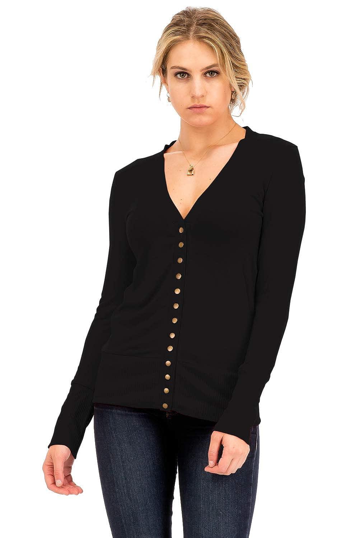 Black NANAVA Women's Basic Snap Button Ribbed Detail Long Sleeve Sweater Cardigan S  3XL