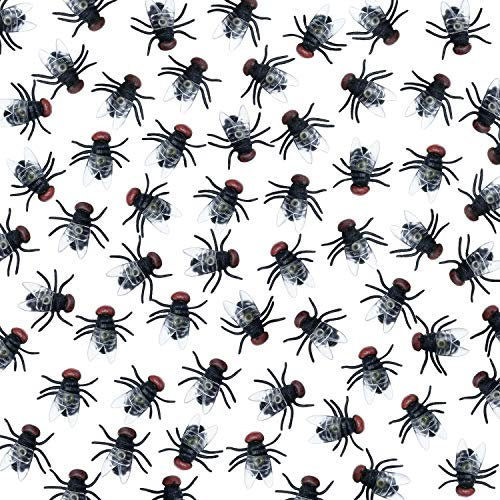(Plastic Flies Halloween Prank Flies Bugs Fake Insect Fly Toys Trick Joke Toys for Party Supplies Props (100)