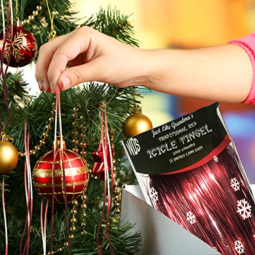 Christmas Tree Icicles Tinsel.Premium Red Icicle Tinsel Garland For Christmas Trees 2000 Vintage Shiny Mylar Strands Each Stand 18 Inch Long Kid Pet Safe Lead Free Hang