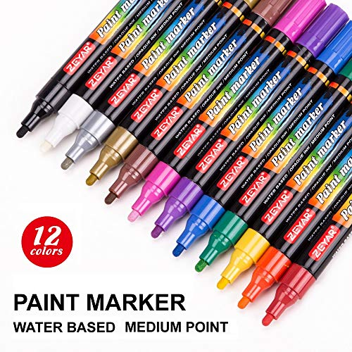 ZEYAR Acrylic Paint Pens for Rock Painting, 12 Colors, Water Based, Medium Point, Assorted Colors,Odorless,Acid Free,Non-Toxic and Safe,Environmental Friendly,Professional Paint Marker Manufacturer