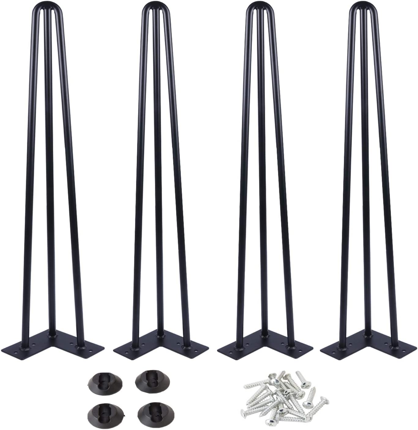 "Osring 30 Inch Hairpin Table Legs with 1/2"" Dia 3-Rods, Heavy Duty Metal Hairpin Furniture Leg for Coffee Table and Patio Bench, Black Hairpin Feet with Floor Protector for Home DIY Project, 4 Pack"