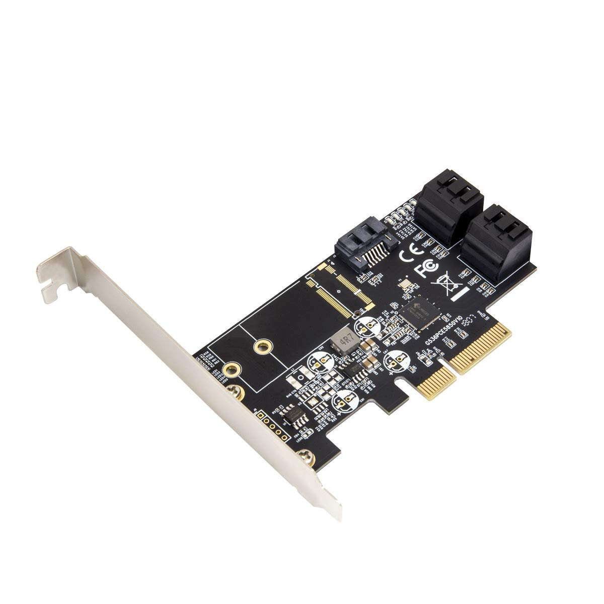 I/O CREST Internal 5 Port Non-Raid SATA III 6GB/S Pci-E X4 Controller Card for Desktop PC Support SSD and HDD with Low Profile Bracket. JMB585 Chipset by I/O CREST