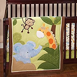 Little Bedding Jungle Time Monkey 3 Piece Crib Set unisex