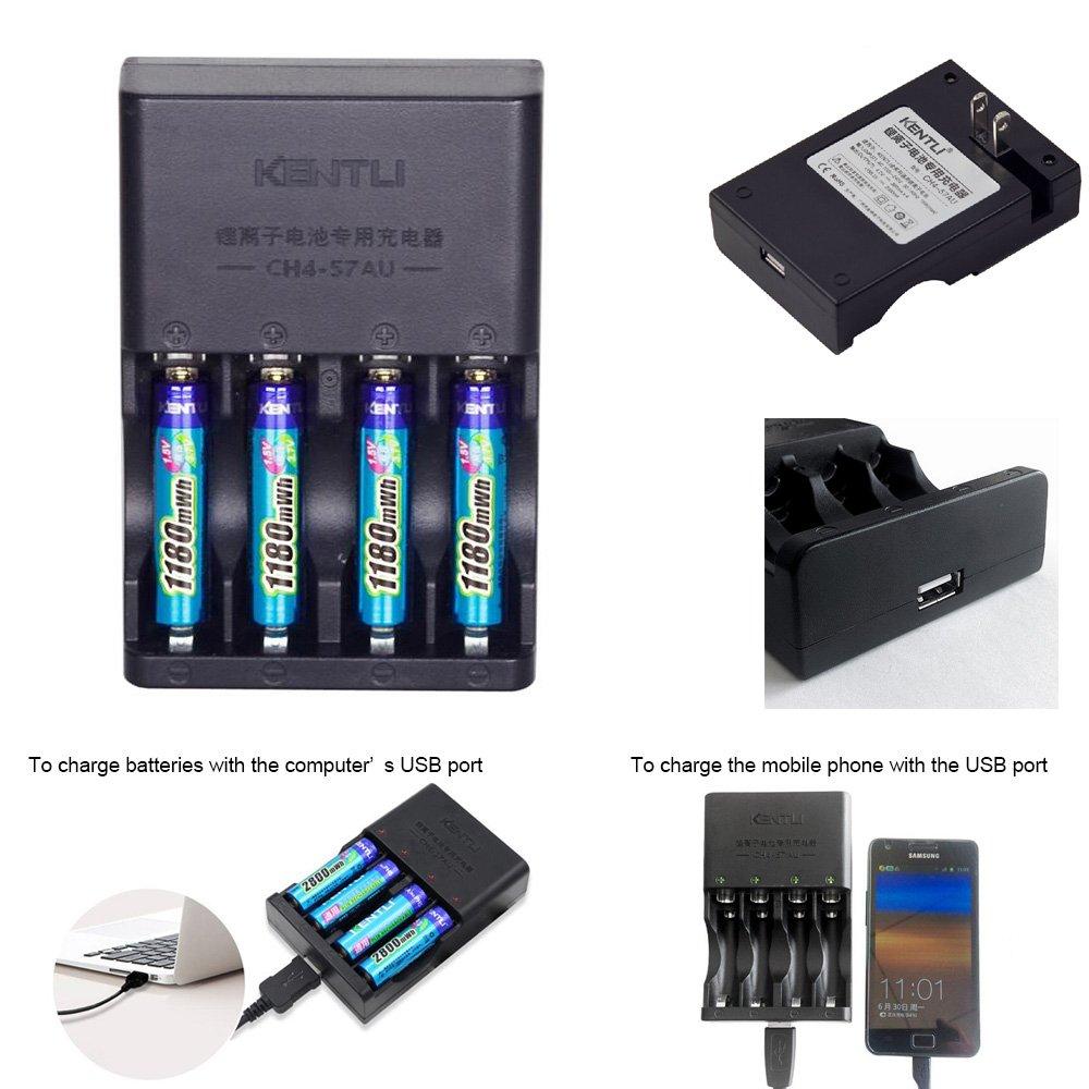 KENTLI 4pcs 1.5V AAA 1180mWh Rechargeable Li-ion Li-polymer Lithium battery + 4 slots AA AAA lithium Smart Charger(with 4PCS 1180mha AAA batteries)