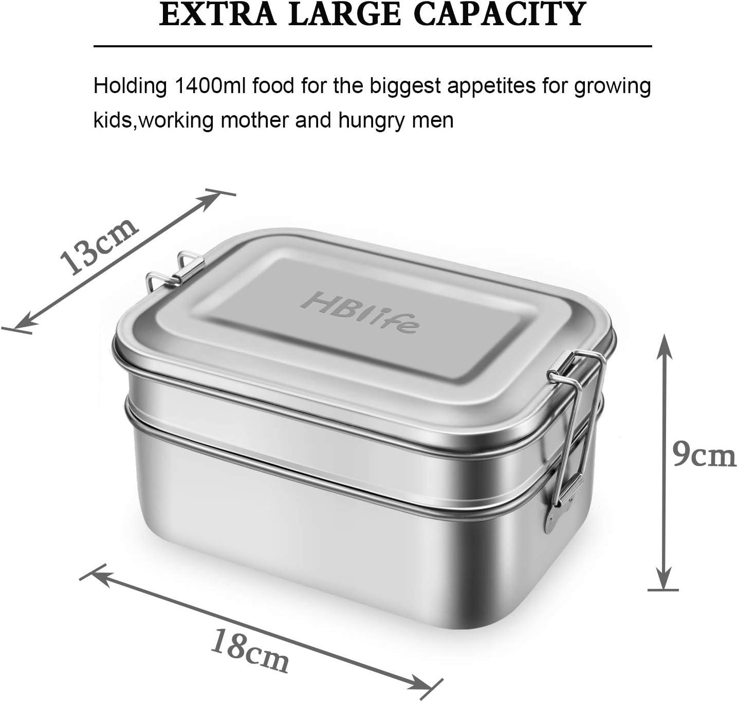 HB life 2-teilige Brotdose aus Edelstahl Lunchbox Bento Box Metall Dichte Brotdose Lunchbox 1400ml Fassungsverm/ögen mit F/ächern f/ür Reisen//Arbeit//Schulkinder und Erwachsene Doppelschicht