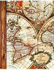 """Trip Planner and Travel Journal: Vacation Planner & Diary for 4 Trips, with Checklists, Itinerary & more [ Softback Notebook * Large (8"""" x 10"""") * Antique Map ]"""