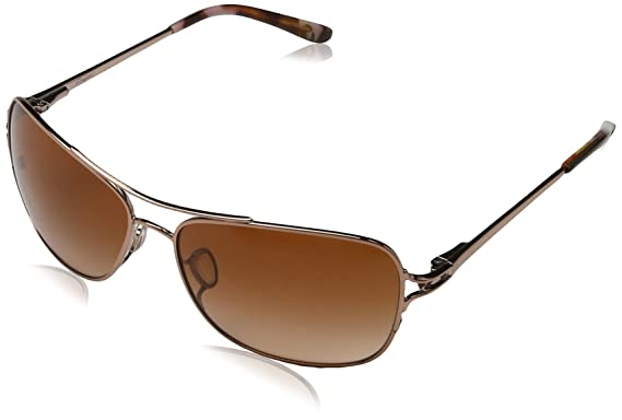 7b9112209c72 Oakley Women's Conquest OO4101-01 Polarized Aviator Sunglasses, Satin Rose  Gold, ...