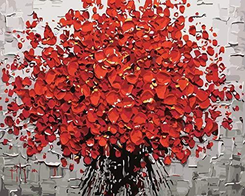 WISKALON Pintura por numeros para Adultos DIY Pintura al oleo Kit con Pinceles y Pinturas para Ninos principiantes - Flores rojas Sin Marco 16 X 20 Pulgadas
