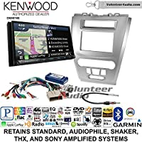 Volunteer Audio Kenwood DNX874S Double Din Radio Install Kit with GPS Navigation Apple CarPlay Android Auto Fits 2010-2012 Fusion (Silver)