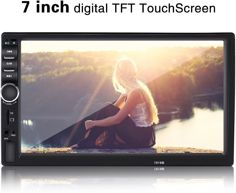 Cuque 7 Inch High Definition Touch Screen Bluetooth Car MP5 Player Car Stereo Audio MP5 Player Support Rearview Camera Function FM AUX Audio Input MP3 WMA OGG APE AAC FLAC WAV with Remote Control