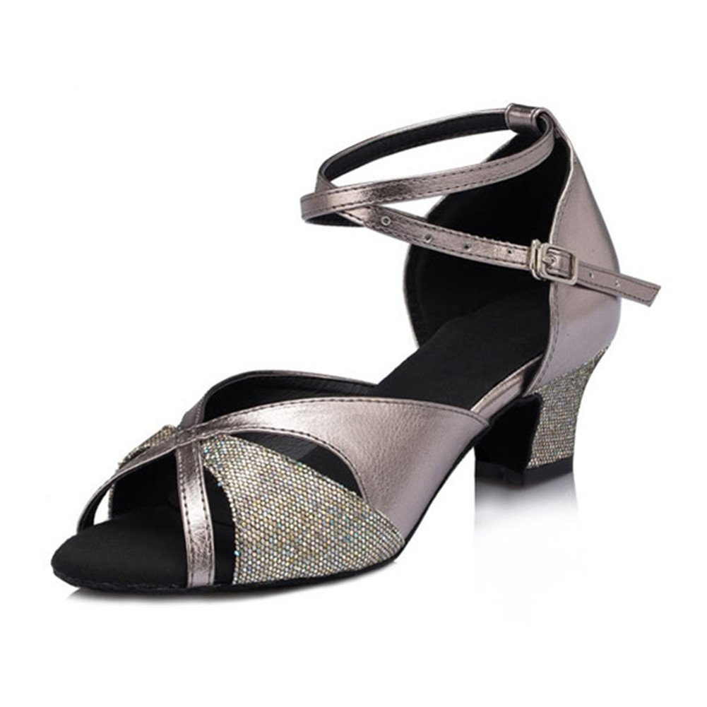 QWERTYUIOP Frauen Latein Tanzschuhe Leise Unten Wildleder Dancing Schuhe Salsa Soziale Tanzschuhe Indoor Sandale