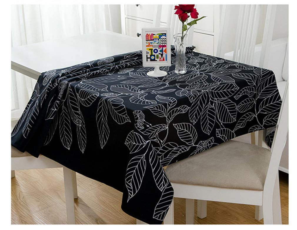 Dinar Nappe en Coton Moderne Noir et Blanc Feuilles modèle de Tissu de Table Banquet de Mariage Lavable Couverture de Table Textiles White 60cm X 60cm
