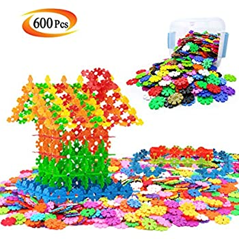 600 Pieces Brain Flakes Set Snowflakes Connect Interlocking Plastic Disc - A Creative and Educational Building Block Toy