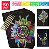 COONC 50 Sheets Rainbow Scratch Paper; Scratch Art Paper; Black Doodle Pad with Rainbow Background, 5 Wooden Styluses and 4 Drawing Stencils