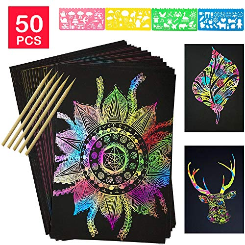 Black Scratch Art Paper (COONC 50 Sheets Rainbow Scratch Paper; Scratch Art Paper; Black Doodle Pad with Rainbow Background, 5 Wooden Styluses and 4 Drawing)