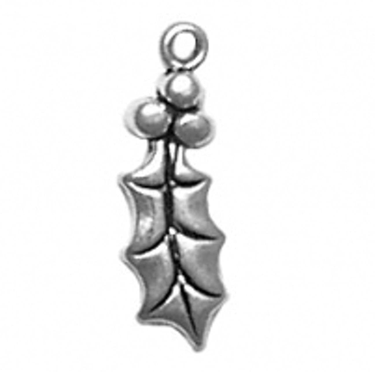Sterling Silver Girls .8mm Box Chain Holly Berry Pendant Necklace Leaf Detail And Berries