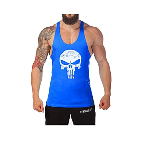 Homme Débardeur Uni T-shirt sans Manches Shirt Lâche Maillot de Corps Sport  Blouse Fitness Jogging ... f7df8cb9ba31