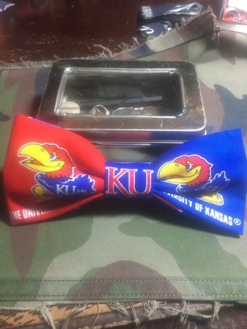 Jayhawks bow tie graduation gift Pre-tied and adjustable strap up to 18 Kansas Jayhawks Bow tie,Big Jay College Bow tie