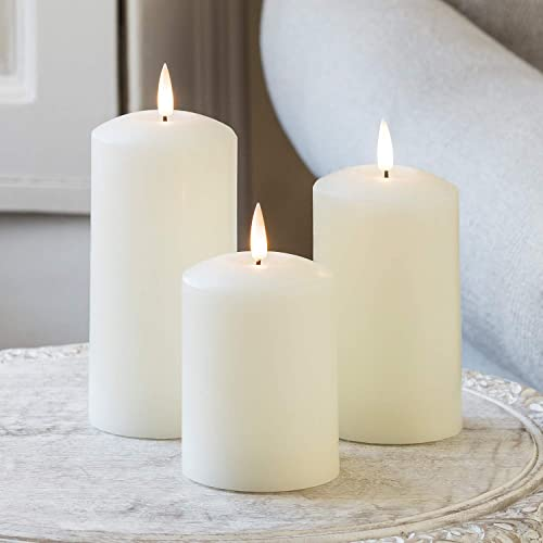 Lights4fun, Inc Set of 3 TruGlow Ivory Wax Flameless LED Battery Operated Pillar Candles with Remote Control