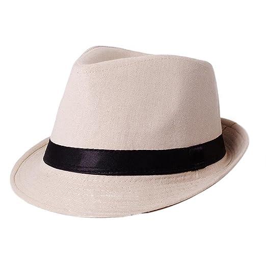 79843b4b89f Mens Cotton Solid Wide Brim Bowler Fedora Hats CA183C (Beige) at ...