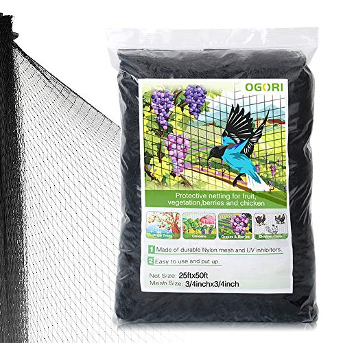 - OGORI 25 X 50 ft Bird Netting Poultry Netting Protect Plants and Fruit Trees Garden Net 3/4