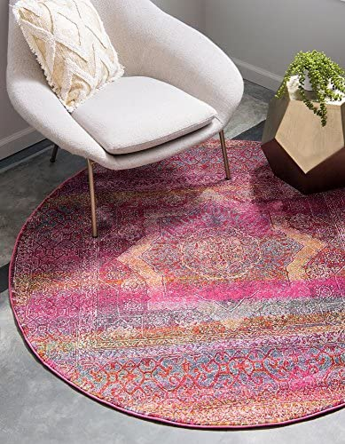 Unique Loom Baracoa Collection Bright Tones Vintage Traditional Pink Round Rug 8 4 x 8 4