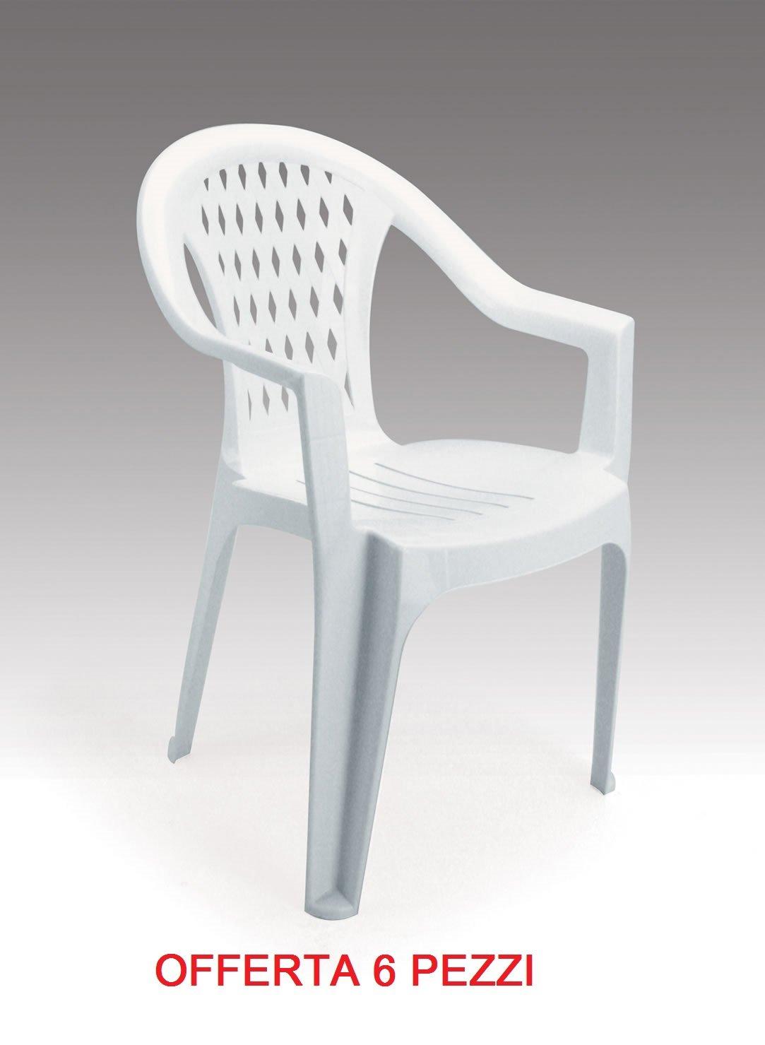 GBSHOP Sedia poltrona da giardino economica in plastica/resina confezione da 6 pezzi offerta IGAP - GRANDSOLEIL