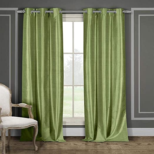 Duck River Textile Daenerys Faux Silk Grommet Top Window Curtain 2 Panel Set