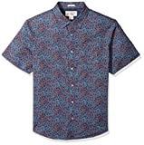 Original Penguin Men's Short Sleeve Floral Print Lawn Shirt, Faded Denim, Medium