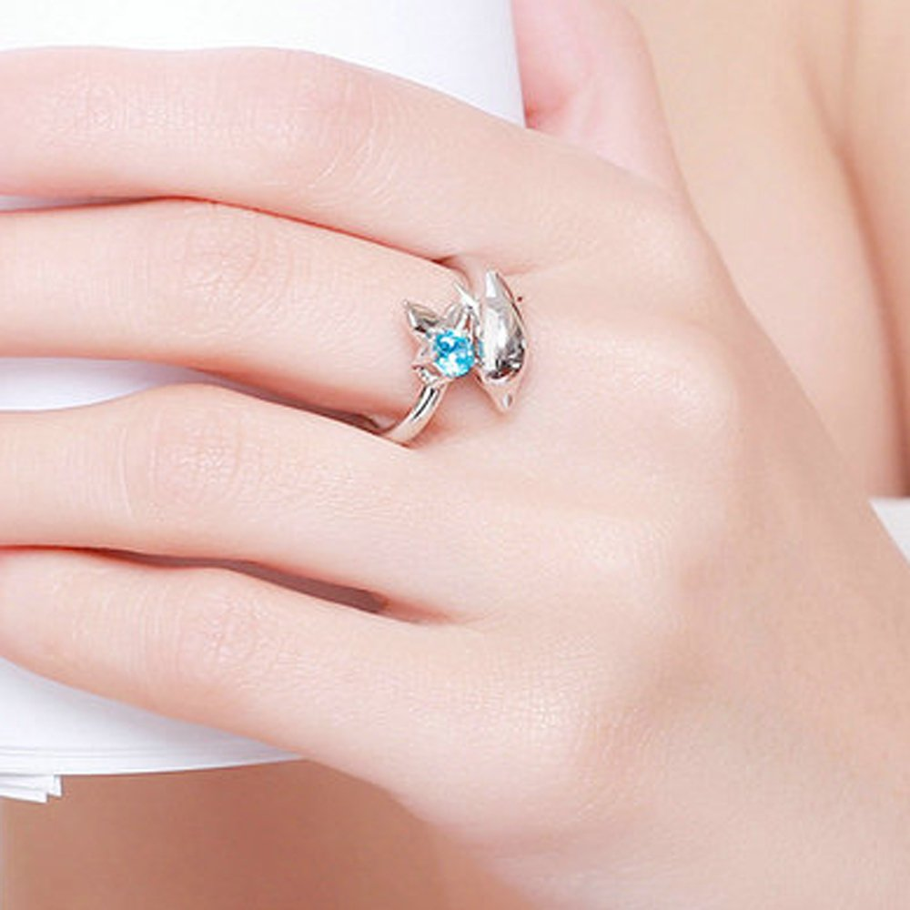 Amazon.com: T&F-Jewelry 925 Sterling Silver Dolphin\'s Love & Blue ...