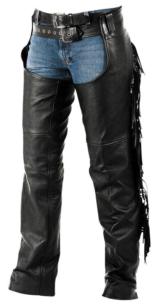 Interstate Leather Ladies Fringe Motorcycle Chaps Ladies X-Large Black by Interstate Leather