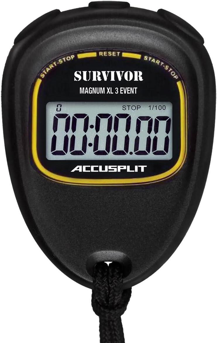 ACCUSPLIT Survivor - S3E EVENT Stopwatch with Magnum Display,Black