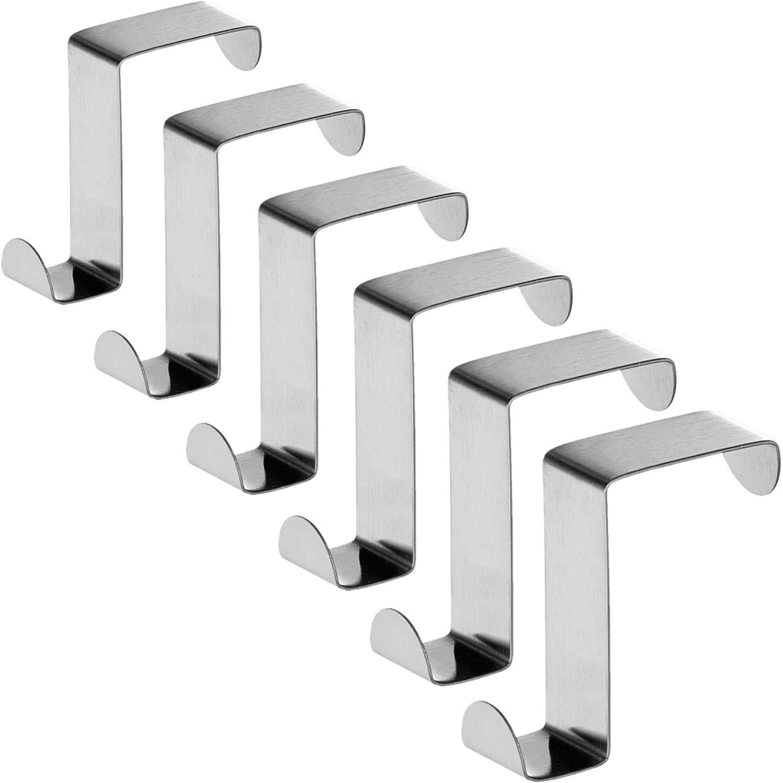 Tatkraft Seger Ganchos sobre Puerta (Set de 6), hasta 5 kg, Acero Inoxidable, Reversibles para Puertas de Armario o de Habitación, Sin Clavos