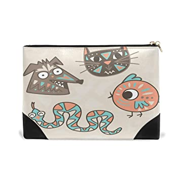 9cf8cd01a3 Amazon.com   Women Makeup Bag Art Animals Genuine Leather Zipper Cosmetics  Pouch Lady Toiletry Bag   Beauty