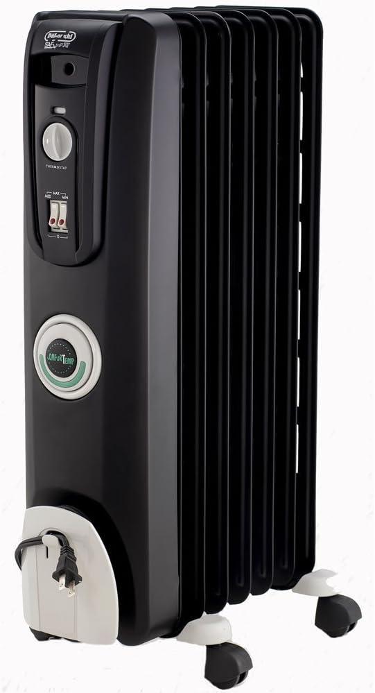 DeLonghi EW7707CB 1500W ComforTemp Portable Oil-Filled Radiator - Black (Renewed)