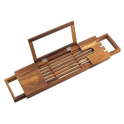 Amazon Com Nordic Teak Bamboo Bathtub Caddy Tray Bathtub Shelf