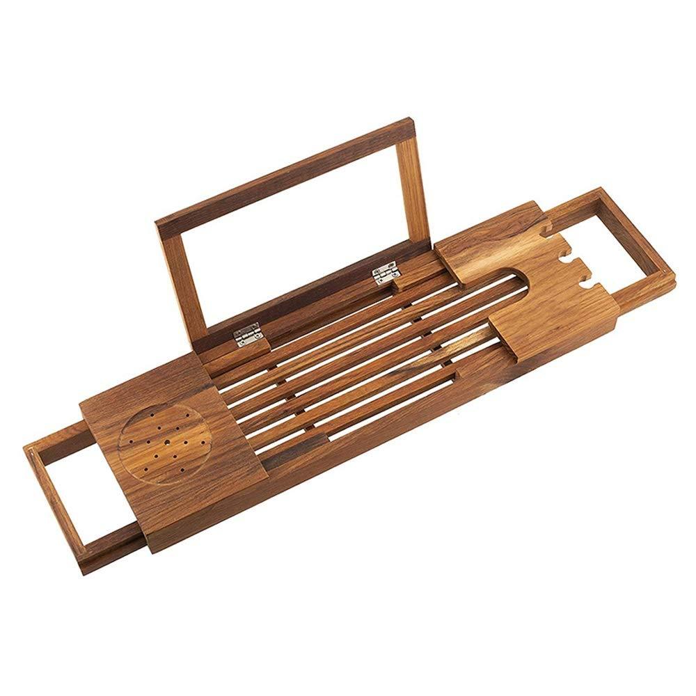 Nordic Teak Bamboo Bathtub Caddy Tray Bathtub Shelf Frame Extending Both Sides Bracket Plate Bath Artifact Adjustable Non-Slip Bathtub Rack
