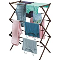 mDesign Tall Vertical Foldable Laundry Drying Rack - Compact, Portable and Collapsible for Storage - Large Capacity…