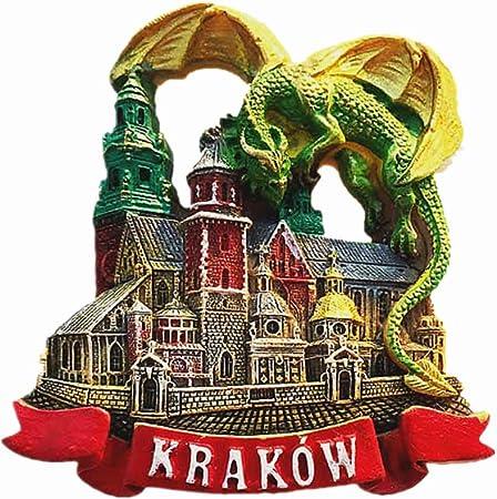 MUYU Magnet Aimant de r/éfrig/érateur 3D Dragon de Krakow Pologne en Forme de Dragon de Krakow pour Voyage d/écoration de Maison et de Cuisine Cadeau de Voyage