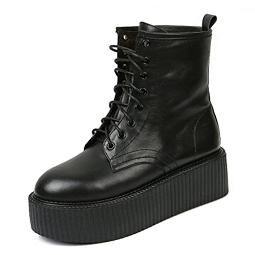 64563cd6f48c2 RoseG Women's Boots Leather Lace Up Platform Creepers Shoe