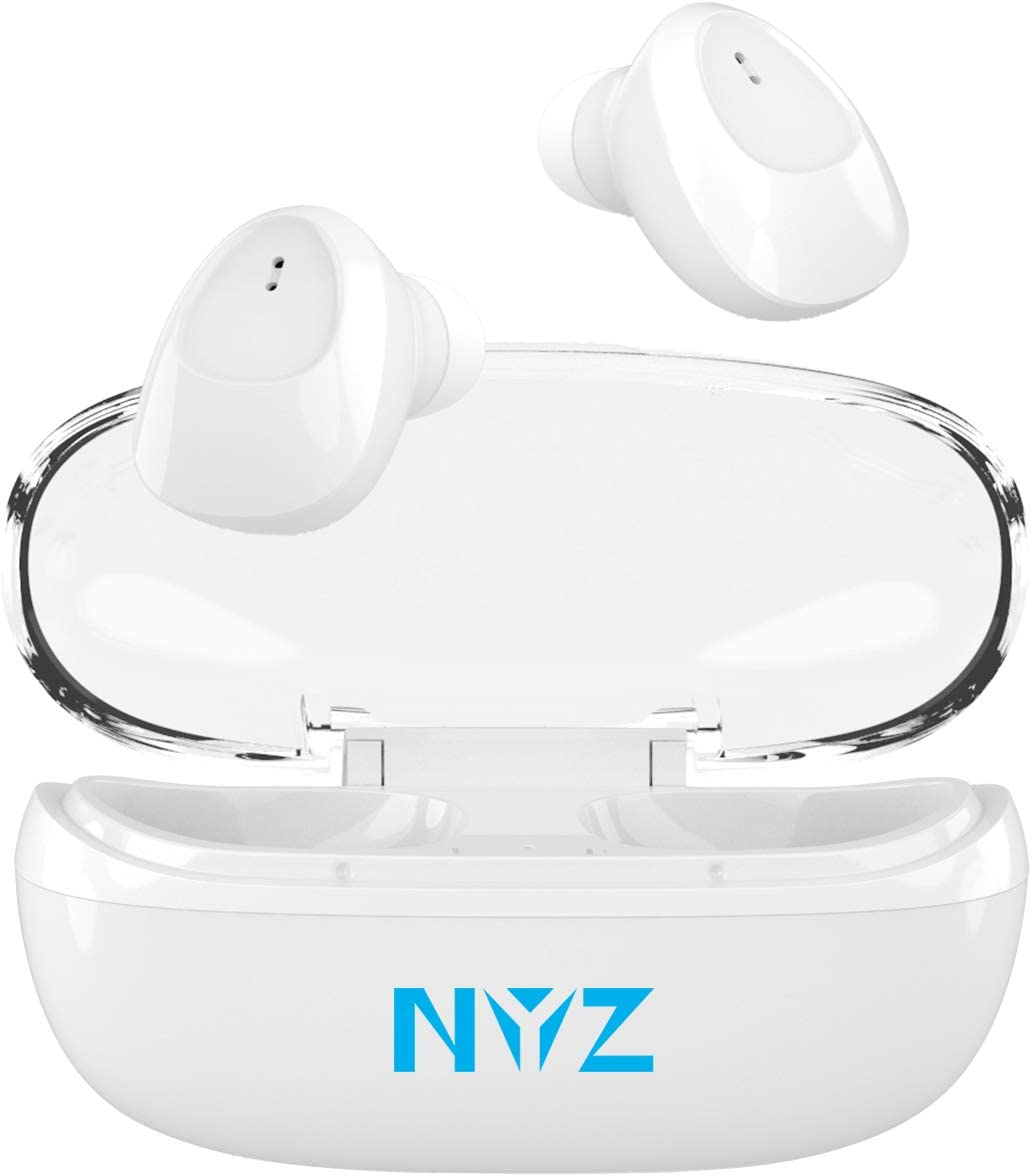 Wireless Earbuds, NYZ [2021 Upgraded] True Wireless Bluetooth Headphones in-Ear Earphones HiFi Stereo Cordless Earbuds with Microphone Portable Charging Case for iPhone,Android,Windows (Space C1)