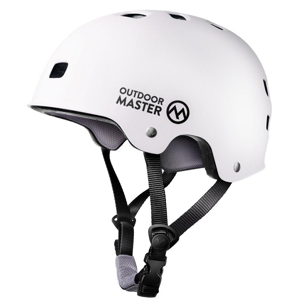 OutdoorMaster Skateboard Helmet - Lightweight, Low-Profile Skate Helmet & Removable Lining - 12 Vents Ventilation System - L - White
