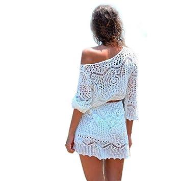 Malloom®mujer ahuecar blanco encaje falda de la playa vestidos de fiesta con la correa