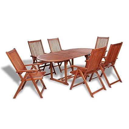 Sedie In Legno Giardino.Vidaxl Set Da Esterno 7 Pz Giardino Tavolo E Sedie Pieghevoli In