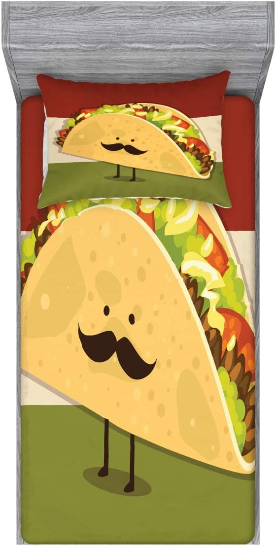 Ambesonne Food Fitted Sheet & Pillow Sham Set, Mexican Taco with Mustached Face Rolled with Veggies Humor Comic Childish Art, Decorative Printed 2 Piece Bedding Decor Set, Twin, Paprika Green