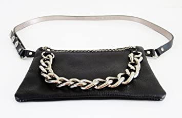 3ab7795ab4d5 Image Unavailable. Image not available for. Color: Michael Kors Mk Black /  Silver Leather Belt W/pouch Fanny Pack ...
