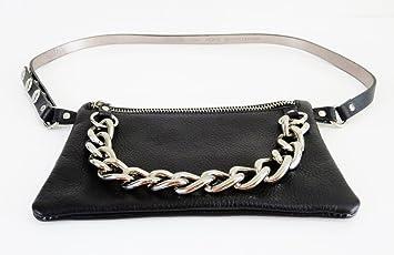 Amazon.com: michael kors MK negro y plateado cinturón de ...